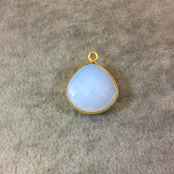Gold Finish Faceted Opalite Heart/Teardrop Shaped Bezel Pendant Component - Measuring 18mm x 18mm - Natural Semi-precious Gemstone