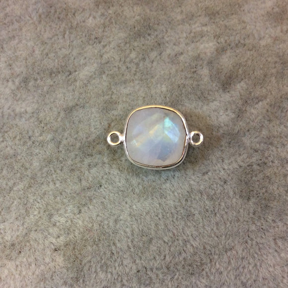 Silver Finish Faceted Moonstone Square Shaped Bezel Connector Component - Measuring 12mm x 12mm - Natural Semi-precious Gemstone