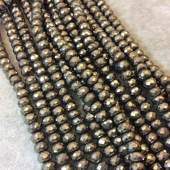 6mm Faceted Rondelle Shape Natural Pyrite Beads - 8