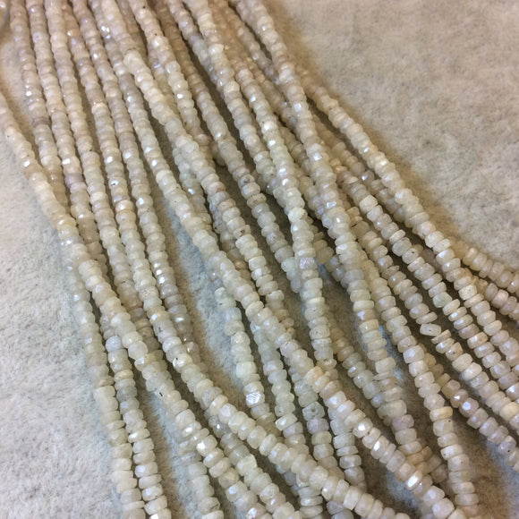 3mm Faceted Rondelle White/Gray Sapphire Beads - 16