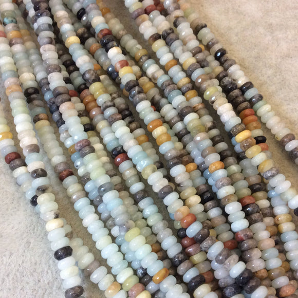 4mm Faceted Rondelle Shaped Multicolor Amazonite Beads - 16
