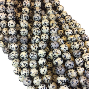 "10mm Smooth Round Dalmatian Jasper Beads - 15.5"" Strand (Approximately 38 Beads) - Natural Semi-Precious Gemstone Beads - Sold By The Strand"