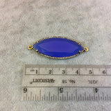 Gold Finish Faceted CZ Rimmed Cobalt Blue Chalcedony Marquis Shaped Bezel Connector Component - Measures 17 x 42mm - Sold Individually