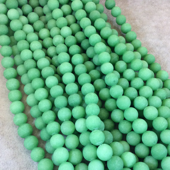 8mm Matte Round/Ball Shaped Green Jade Beads - 15.25