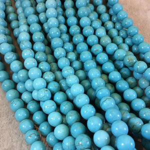 "8mm Smooth Round/Ball Shape Howlite Beads - 16"" Strand (Approximately 52 Beads) - Natural Semi-Precious Gemstone - Sold by the Strand"