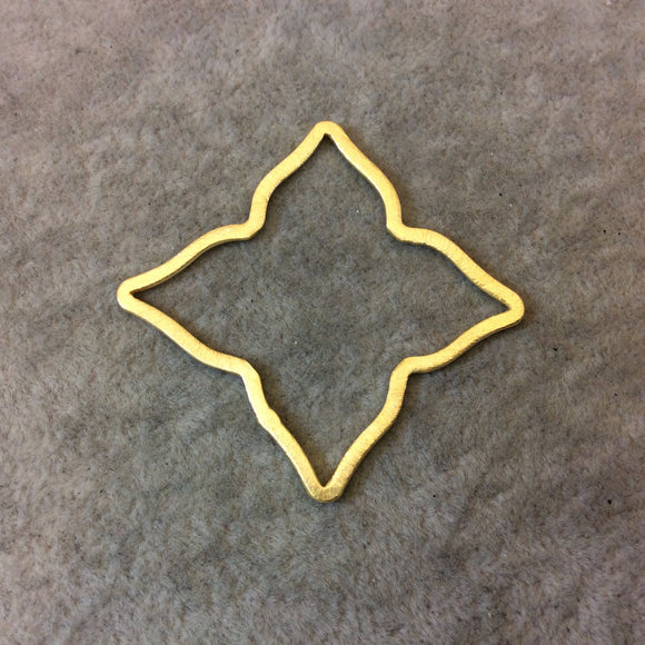 Gold Brushed Finish Large Sized Pointed Star/Flower Open Pendant/Connector Components - Measuring 49mm x 49mm - Sold in Packs of 10 (253-GD)
