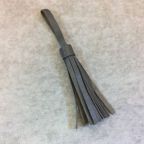 Single Simple Loop Charcoal Gray Leather Tassel - Measuring 10mm x 80mm - Sold Individually - Available in 7 Colors, See Related Items Link!