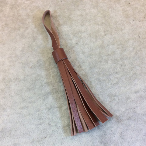 Single Simple Loop Dark Sienna Leather Tassel - Measuring 10mm x 80mm - Sold Individually - Available in 7 Colors, See Related Items Link!