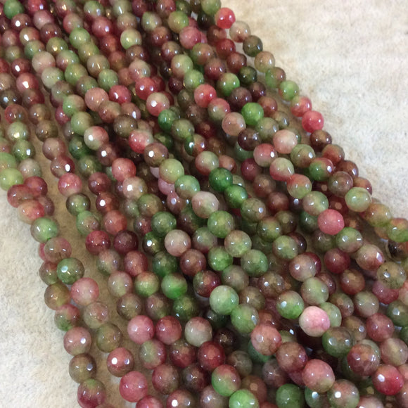6mm Faceted Dyed Pink/Green Agate Round/Ball Shaped Beads - 15.5