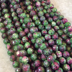 "10mm Faceted Round/Ball Shaped Red/Green Ruby Zoisite Beads - 15"" Strand (Approximately 38 Beads) - Natural Semi-Precious Gemstone"