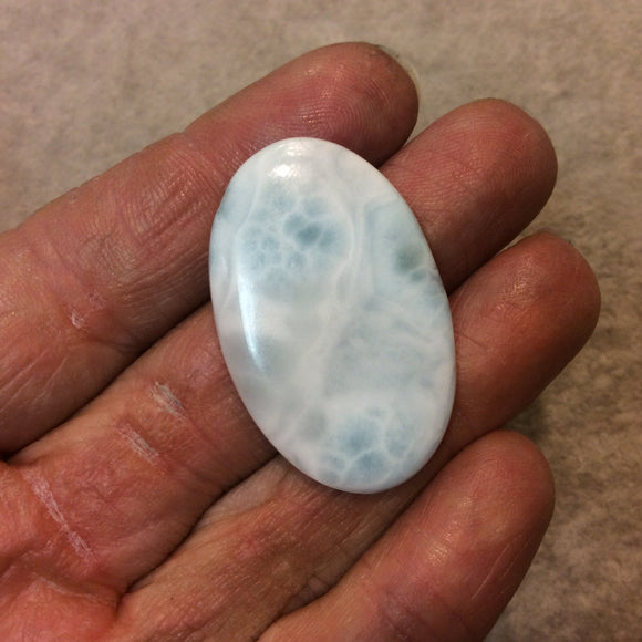 Larimar Oblong Oval Shaped Flat Back Cabochon - Measuring 24mm x 39mm, 4mm Dome Height - Natural High Quality Gemstone
