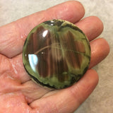 Imperial Jasper Round/Coin Shaped Flat Back Cabochon - Measuring 44mm x 44mm, 5mm Dome Height - Natural High Quality Gemstone