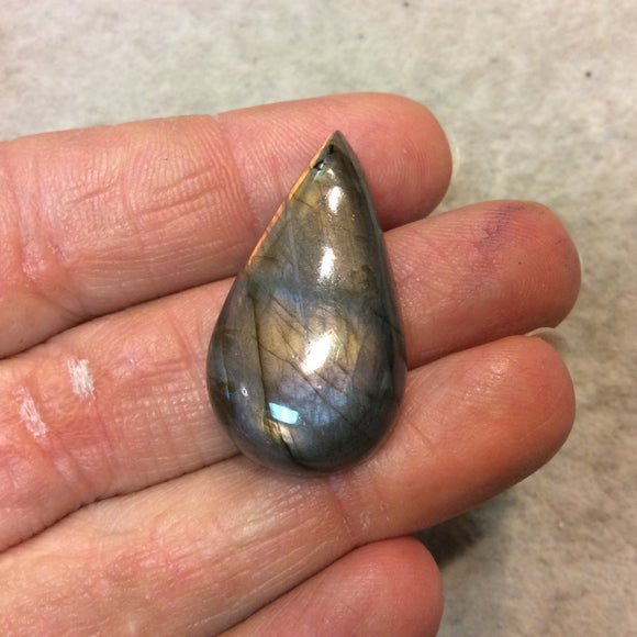 Purple Labradorite Pear/Teardrop Shaped Flat Back Cabochon - Measuring 18mm x 35mm, 8mm Dome Height - Natural High Quality Gemstone