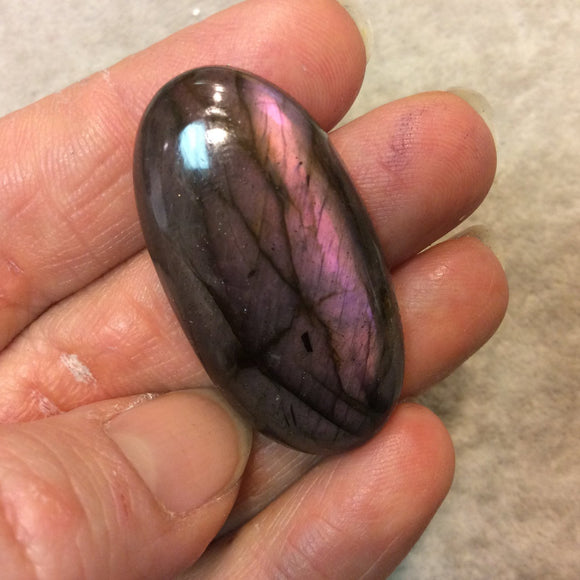 Purple Labradorite Oblong Oval Shaped Flat Back Cabochon - Measuring 22mm x 43mm, 8mm Dome Height - Natural High Quality Gemstone