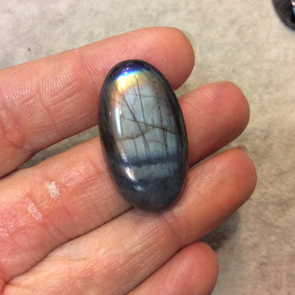 Purple Labradorite Oblong Oval Shaped Flat Back Cabochon - Measuring 19mm x 34mm, 7mm Dome Height - Natural High Quality Gemstone