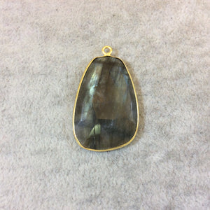 Gold Finish Faceted Labradorite Freeform Bell Shaped Bezel Pendant Component - Measuring 20mm x 29mm - Natural Semi-precious Gemstone