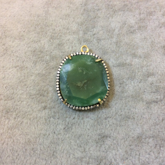 Gold Finish Faceted CZ Rimmed Chrysoprase Freeform Shaped Bezel Pendant Component - Measures 20mm x 22mm - Sold Individually