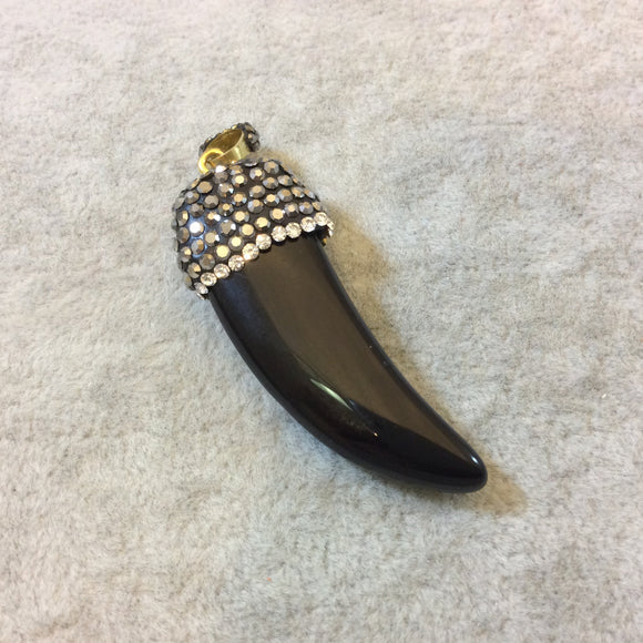 Rhinestone Encrusted Tusk/Claw Shaped Black Onyx Pendant with Attached Bail - Measuring 17mm x 50mm, Approx. - Sold Individually