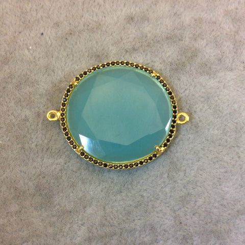 Gold Finish Faceted CZ Rimmed Aqua Green Chalcedony Round Shaped Bezel Connector Component - Measures 31mm x 31mm - Sold Individually