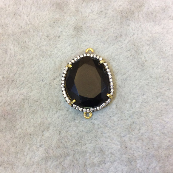 Gold Finish Faceted CZ Rimmed Transparent Black Onyx Freeform Pear Shaped Bezel Connector - Measures 17mm x 18mm - Sold Individually