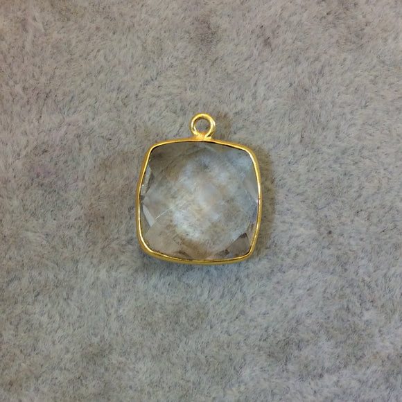 Gold Plated Faceted Clear Hydro (Lab Created) Quartz Square Shaped Bezel Pendant - Measuring 15mm x 15mm - Sold Individually