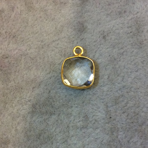Gold Finish Faceted Clear Quartz Square Shaped Bezel Pendant Component - Measuring 10mm x 10mm - Natural Gemstone - Sold Individually