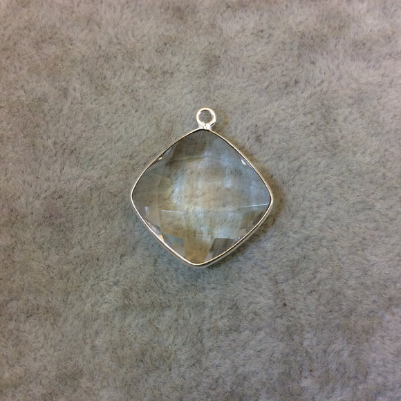 Silver Finish Faceted Clear Quartz Diamond Shaped Bezel Pendant Component - Measuring 18mm x 18mm - Natural Gemstone - Sold Individually