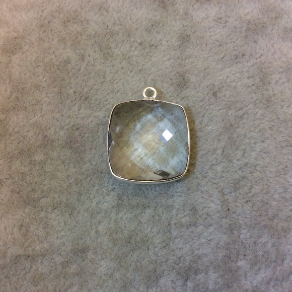 Silver Finish Faceted Clear Quartz Square Shaped Bezel Pendant Component - Measuring 18mm x 18mm - Natural Gemstone - Sold Individually