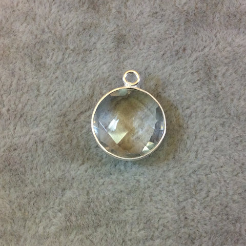 Silver Finish Faceted Clear Quartz Round/Coin Shaped Bezel Pendant Component - Measuring 15mm x 15mm - Natural Gemstone - Sold Individually