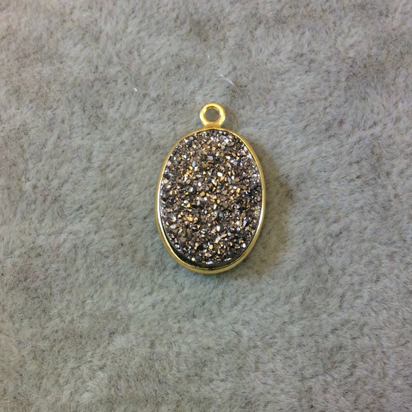 Gold Finish Metallic Silver Vertical Oval Shaped Natural Druzy Agate Bezel Pendant Component - Measures 13mm x 18mm - Sold Individually