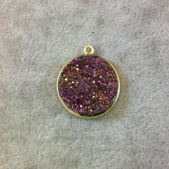 Gold Finish Lavender/Purple Round/Coin Shaped Natural Druzy Agate Bezel Pendant Component - Measures 20mm x 20mm - Sold Individually