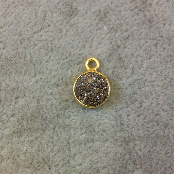 Gold Finish Metallic Silver Round/Coin Shaped Natural Druzy Agate Bezel Pendant Component - Measures 8mm x 8mm - Sold Individually