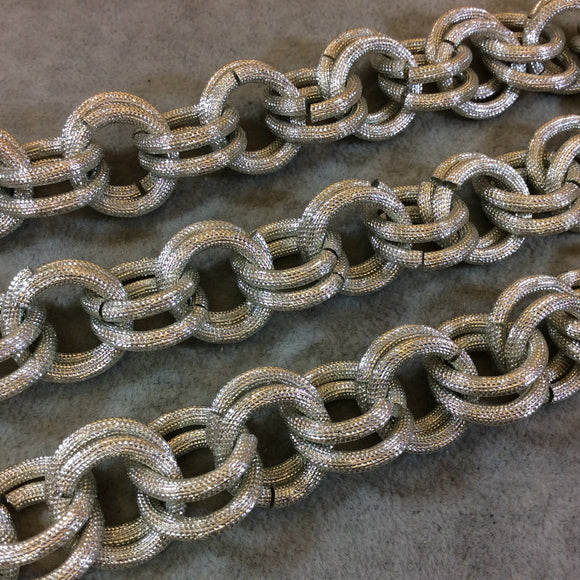 A1097 - 1' Section of Silver Finish Aluminum Double Link Chain with 20mm x 20mm Links - Available in Other Finishes, Check Related Listings!
