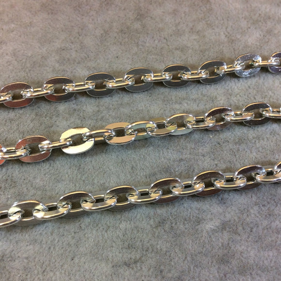 A1443 - 5' Section of Silver Finish Aluminum Flat Cable Chain with 7mm x 10mm Links - Available in Other Finishes, Check Related Listings!