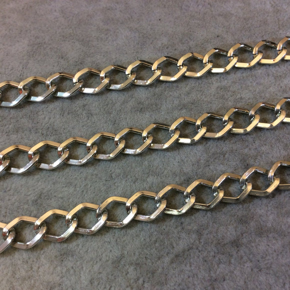 A1519 - 5' Section of Silver Finish Aluminum Diamond Curb Chain with 9mm x 11mm Links - Available in Other Finishes, Check Related Listings!