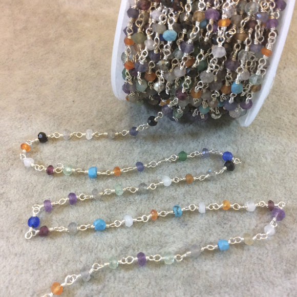 Silver Plated Copper Rosary Chain with Faceted 3-4mm Rondelle Shaped Assorted Gemstone Beads (CH132-SV) - Sold in 1'  Sections!