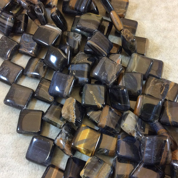 Smooth Blue Tiger Eye Flat Diamond Shaped Beads - Measuring 19mm x 19mm - 15