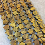 "Smooth Tiger Eye Flat Star Shaped Beads - Measuring 10mm x 10mm - 15.75"" Strand (Approximately 44 Beads) - Natural Gemstone Bead Strand"