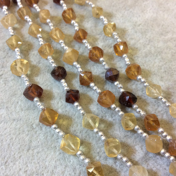 4-5mm Faceted Diamond/Cube Shaped Hessionite Garnet Beads - 9
