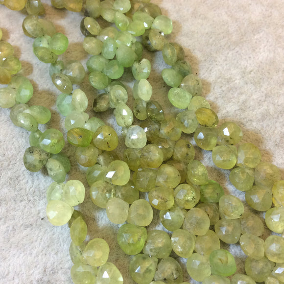 7mm Faceted Heart/Teardrop Shaped Grossular Garnet Beads - 7.75