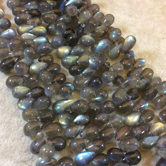 6mm x 10mm Smooth Teardrop Shaped Labradorite Beads - 9.75