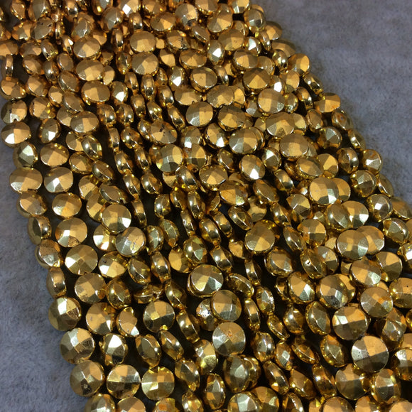 7-8mm Faceted Coin Shaped Gold Plated Pyrite Beads - 12