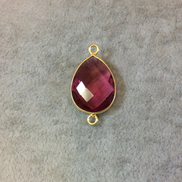 Gold Finish Faceted Pear/Teardrop Shaped Fuchsia Pink Quartz Bezel Two Ring Connector Component - Measuring 15mm x 20mm - Natural Gemstone