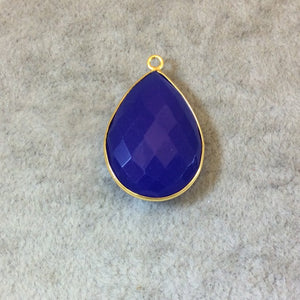 Gold Finish Faceted Cobalt Blue Chalcedony Pear/Teardrop Shaped Bezel Pendant Component - Measuring 18mm x 24mm - Natural Gemstone