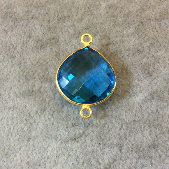 Gold Finish Faceted Pear/Tear Shaped Azure Blue Quartz Bezel Two Ring Connector Component - Measuring 18mm x 18mm - Natural Gemstone
