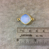Gold Finish Faceted Milky Opalite Diamond Shaped Bezel Two Ring Connector Component - Measuring 15mm x 15mm - Natural Gemstone