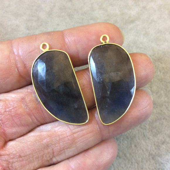 One Pair of OOAK Gold Finish Faceted Sapphire Freeform/Tusk Shaped Bezel Pendants