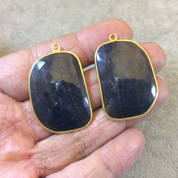 One Pair of OOAK Gold Finish Faceted Sapphire Freeform Shaped Bezel Pendants