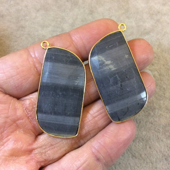 One Pair of OOAK Gold Finish Faceted Natural Gray Striped Stone Rectangle Shaped Bezel Pendants
