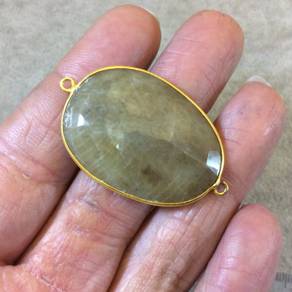 Gold Finish Faceted Deep Natural Tan Mystery Stone Freeform Oval Shaped Bezel Connector Component - Measuring 26mm x 36mm - Natural Gemstone